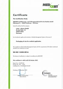 DIN EN ISO 13485:2016 international